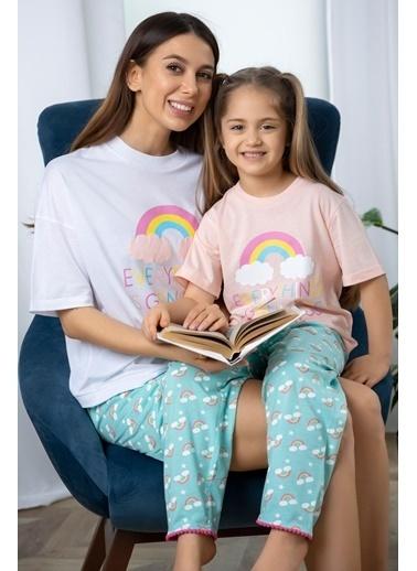 Katia & Bony Gökkuşağı Baskılı Kız Çocuk Pijama Takımı - Pembe Pembe